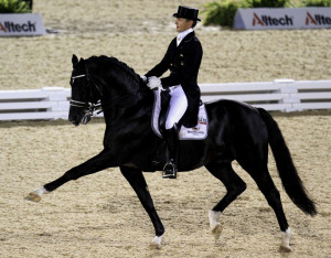 Edward Gal of the Netherlands riding Moorlands Totilas competes in the Grand Prix Freestyle Dressage Competition at the World Equestrian Games in Lexington
